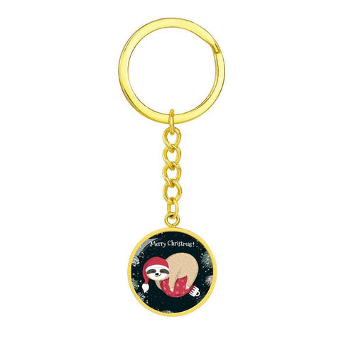 Sloth Merry Christmas Keychain with Custom Engraving