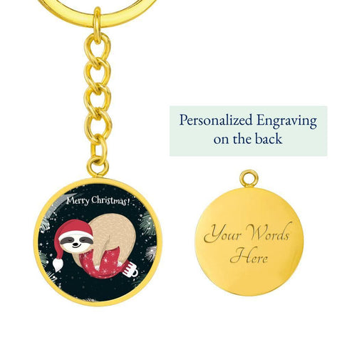 Sloth Merry Christmas Keychain with Custom Engraving A perfect gift for those who love sloth wisdom and want a reminder to keep the  spirit of Christmas alive in their heart long after Christmas day. engrave onto the back of the pendant your loved one's name,  a special intent, or any love note you want them to remember and keep close to their heart. high quality surgical steel with a shatterproof liquid glass coating and 18k gold finish option