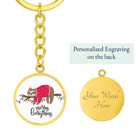 Merry Everything Sloth Keychain with Circle Pendant