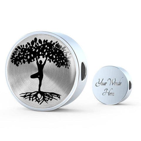 Yogi Tree of Life on Silver Charm, with or without silver bracelet with personalized engraving Made in the USA