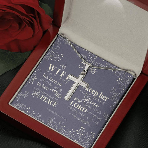 May the Lord Bless My Wife- Artisan Crafted Cross Necklace
