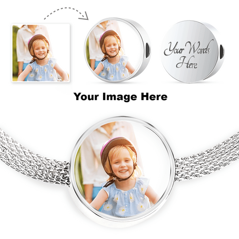 Luxury Silver Bracelet w/Round Charm-Upload Your Own Photo! Personalized engraving on the back!