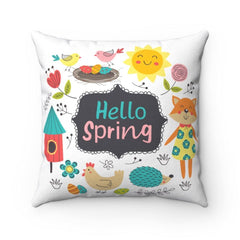 Hello Again Spring Spun Polyester Square Pillow   Welcome spring with this adorable pillow filled with cute animals and sunshine. Perfect to freshen up a room for a new season. An accent pillow have be an inexpensive way to change the character of a small space like a dorm room, first apartment, or kid's room.  .: 100% Polyester cover .: Double sided print .: Concealed zipper .: Polyester pillow included