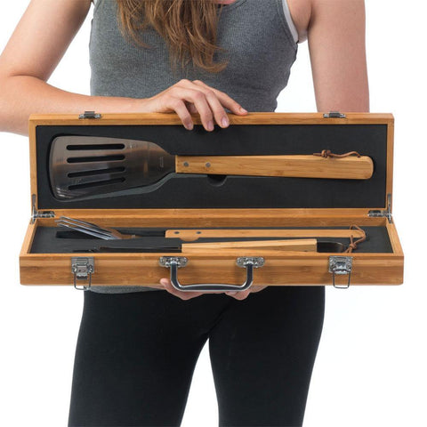 """Best Dead Ever, Ever, Ever Just Ask"" personalized 3-Piece BBQ Tool Set in Bamboo Wood Case   Great gift idea for Dads, Granddads  Includes one each spatula, tongs, and fork in Stainless steal and Bamboo Handle  to match the case.   Two silver latches on front, two silver hinges on back. and silver carry handle.  The utensils are set in foam.     **Artwork is laser etched into the word with Heat and Pressure. NO Color added"