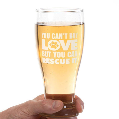 """Can't Buy Love"" Pilsner Glass Laser Etched"