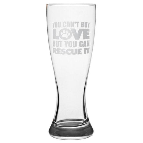 """Can't Buy Love"" Pilsner Glass Laser Etched - Sweet Dragon Mama"