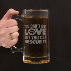 """You Can't Buy Love"" Beer Mugs Laser Etched"