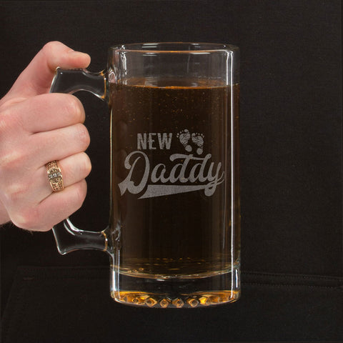 New Daddy Beer Mug 24 oz. Sport Glass Tankard Beer Mug with starburst design on the bottom is perfect for your favorite drink.  This style of beer mug is very durable and is a favorite beer mug to many.  This traditional style beer glass is generously sized, with plenty of room for beer or any other choice beverage.