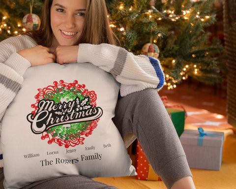Merry Christmas - Personalized Pillow Cover