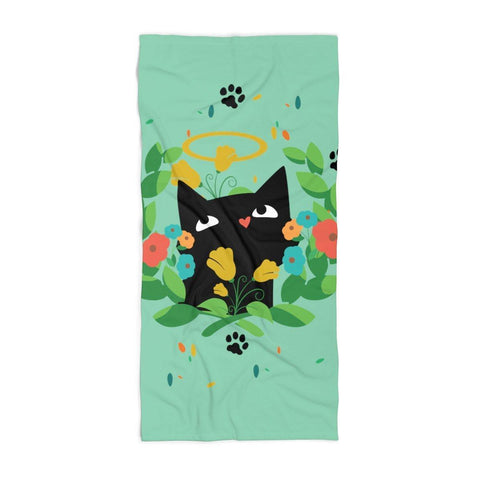 Angelic Cat Beach Towel