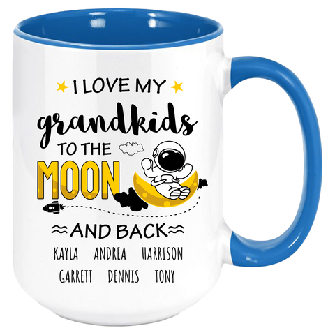 I Love My Grandkids to the Moon and Back Custom Coffee MugThis personalized mug will bring a warm smile and a glow to the heart every time they are used. Grandmas and Grandkids alike will love these mugs, whether for coffee, tea, hot chocolate or juice. These premium ceramic coffee mugs capture brilliant, full-color design. s All 7 colors of the inside/handle options are made with durable, thick walls for safe handling.