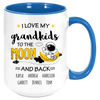 Image of I Love My Grandkids to the Moon and Back Custom Coffee MugThis personalized mug will bring a warm smile and a glow to the heart every time they are used. Grandmas and Grandkids alike will love these mugs, whether for coffee, tea, hot chocolate or juice. These premium ceramic coffee mugs capture brilliant, full-color design. s All 7 colors of the inside/handle options are made with durable, thick walls for safe handling.