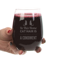 Cat Hair is a Condiment Stemless Wine Glass