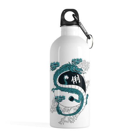 White stainless Steel water bottle with blue and black chinese dragon over yin yang symbol