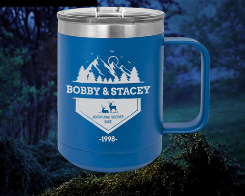 Adventuring together A tumbler in the style of a coffee mug!  Made to order & personalized with your name and date! Create a very unique gift. 15 oz. Stainless Steel Polar Camel Mugs feature double-wall, vacuum insulation with a clear, slider lid.Comes with slide lid, hole is big enough for a straw.  They are 2X heat and cold resistant compared to other tumblers.