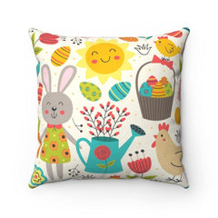 This spring bunny and chicks accent pillow is just the right decor item to freshen up any room for the changing season. Also great for kid's rooms and dorms or first apartments.   .: 100% Polyester cover .: Double sided print .: Concealed zipper .: Polyester pillow included