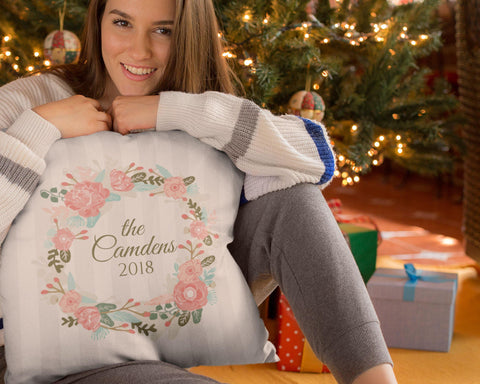 Christmas Wreath -Personalized Pillow Cover - Sweet Dragon Mama