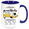 Image of I Love My Grandkids to the Moon And Back , Personalized Coffee Mug , Multicolor Handle and Inside - Sweet Dragon Mama