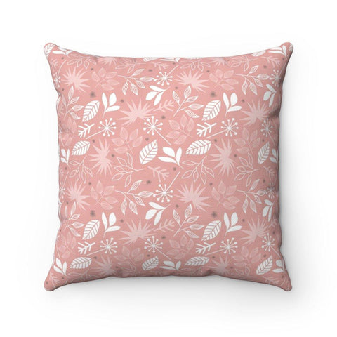 Leafy Delight Salmon Spun Polyester Square Pillow