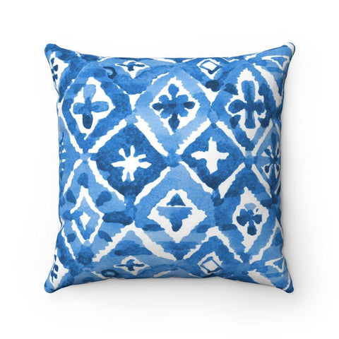 Indigo Diamond Spun Polyester Square Pillow