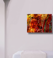 canvas art morning glory in white room mockup, abstract with golden yellows, red, orange standard gallery wrap or frame. original art created and copyrighet by Vida Groman, owner of Sweet Dragon Mama
