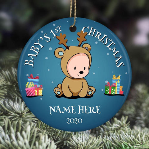 Baby's First Christmas Blue Custom Circle Ornament