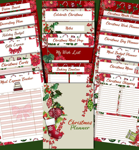 No more scraps of paper. A printable planner to keep your Christmas gift and card lists, holiday budget and meal planning all in one place. Plenty of space for menus, recipes, baking planning, decorating as well as December monthly,weekly,and daily planner. Also has pages for notes, vision and journal entries. 22 pages including the cover.