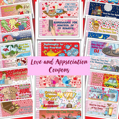 Imagine the smile on your loved one's face when they open this Love and Appreciation Coupon packet. They are a perfect gift for anyone who could use a little tenderness, kindness, humor, fun, extra hugs and kisses and a break from chores or cooking. ( i.e. just about anyone) Eleven pages with three coupons each. They range from humorous to special treats and surprises to the practical.  This is a digital download. You'll receive a high resolution zipped PDF that prints at 8 1/2 by 11 inches ( letter size)