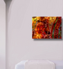 Image of canvas art morning glory in white room mockup, abstract with golden yellows, red, orange standard gallery wrap or frame. original art created and copyrighet by Vida Groman, owner of Sweet Dragon Mama