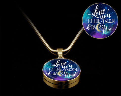 Love You to the Moon Mom, Silver/Gold Necklace, engraved