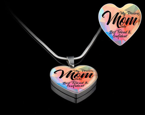 """My Precious Mom""-Heart Necklace Silver engraved - Sweet Dragon Mama"