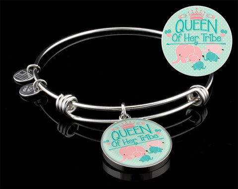 Queen of her Tribe ( Green/Pink)  Silver Bangle Bracelet ,engraved