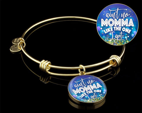 Ain't No Momma- Bangle Bracelet, Silver/ Gold, engraved