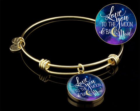 Mom, Moon and Back- Bangle Bracelet Silver/Gold, engraved