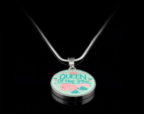 Queen of Her Tribe(Green/Pink) Silver Necklace, Engraved - Sweet Dragon Mama