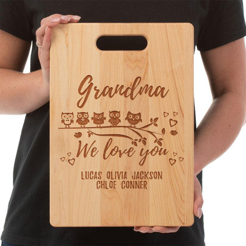 Owl Love Cutting Board - Maple -Personalized