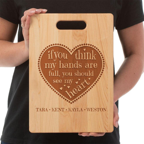 Full Heart Personalized Cutting Board - Sweet Dragon Mama
