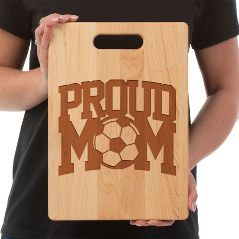 Proud Soccer Mom-Custom Cutting Board - Maple
