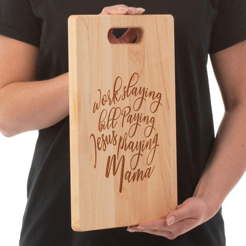 Jesus Praying Mama Maple Cutting Board