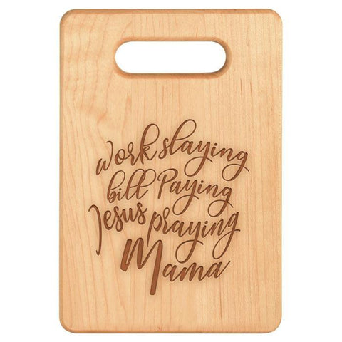 Jesus Praying Mama Maple Cutting Board - Sweet Dragon Mama