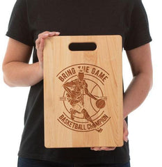 Bring the Game Cutting Board/Charcuterie platter A perfect gift for the Basketball fans in your life or if you are looking for a great serving platter to use while watching the games. Use the laser engraved side for display on a counter or as wall decor, serving platter for cheeses, sandwiches, appetizers,or a charcuterie platter.  Made and shipped from the United States with FREE SHIPPING! A wonderful treat for yourself or gift for basketball championships! Or for any occasion