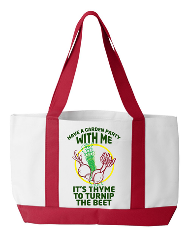 "Gardening Tote ""It's time"", 600 denier polyester, 19"" by 12"" by 4"" - Sweet Dragon Mama"