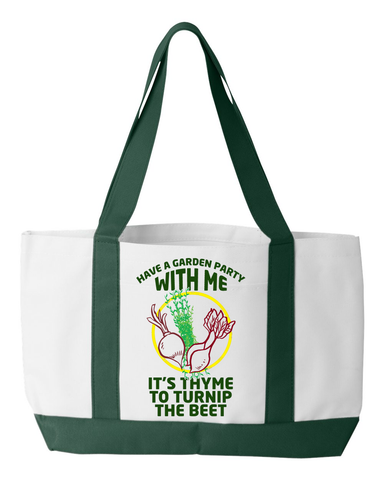 "Gardening Tote ""It's time"", 600 denier polyester, 19"" by 12"" by 4"""