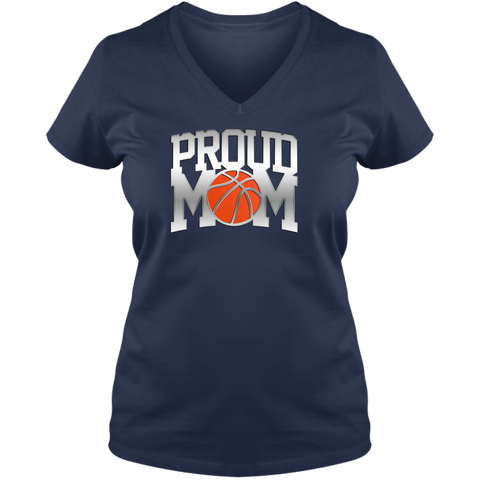 Proud Basketball Mom Ladies V Neck Tee