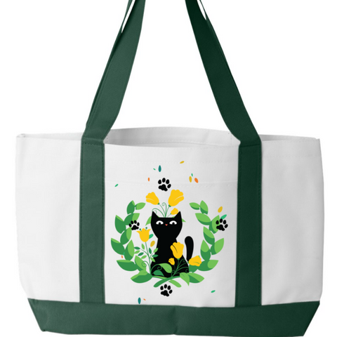 Garden Cat Tote Bag - Sweet Dragon Mama