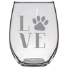 Image of Stemless Wine Glass- 21oz Love Paw