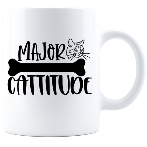 "Major Cattitude 11 oz White Coffee Mug Great gift idea for cat moms and dads 11 oz  High-quality white ceramic mug Microwave and dishwasher safe Measures 3.75"" tall"