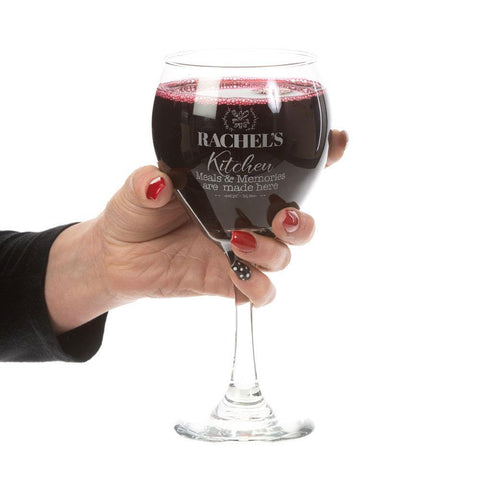 Meals and Memories Custom Etched Red Wine Glass