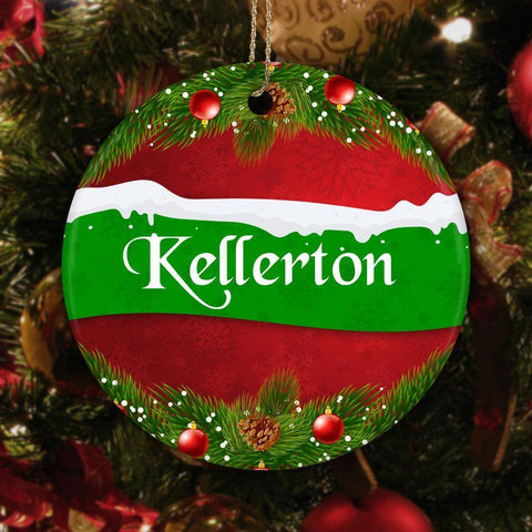 Custom Family Name Ceramic Circle Ornament, Red and Green Christmas Tree Ornament with family name across center and edges with colorful wreath