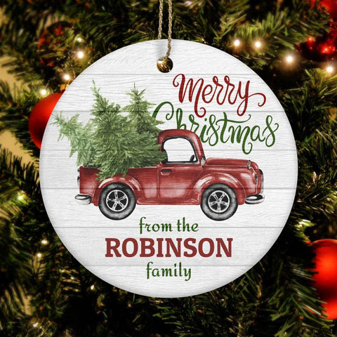 Merry Christmas Truck Ceramic Circle Ornament Personalized, ribbon for hanging, red truck with christmas tree